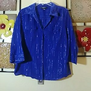Royal blue with silver threads blouse